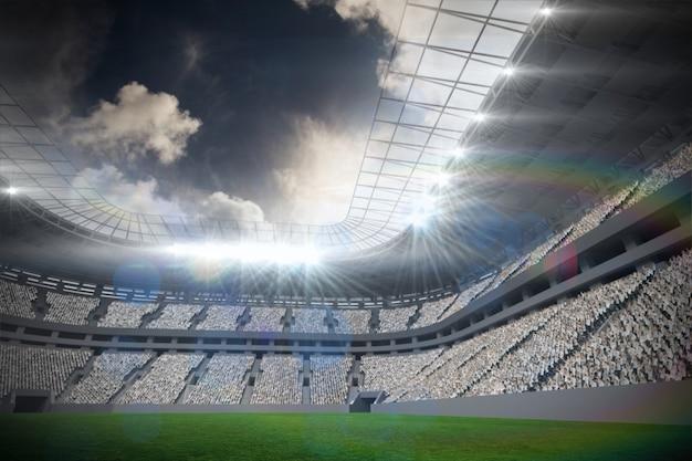 Fußballstadion mit fans in weiß