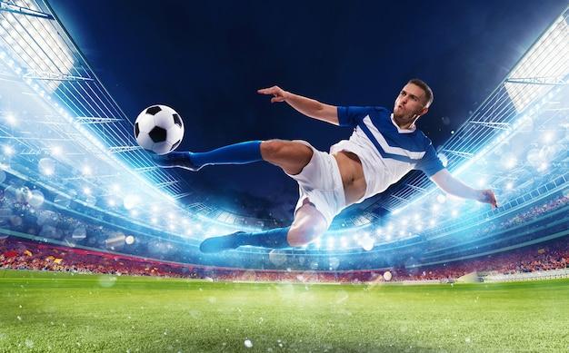 Fußballstürmer schlägt den ball mit einem akrobatischen tritt während eines spiels in einem stadion