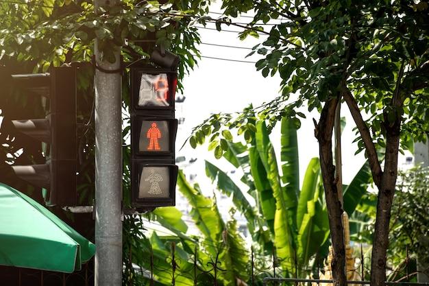 Fußgängerampel zeigt rotes licht mit countdown für das warten über die straße.