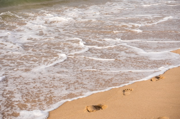 Fußspuren an einem sandigen strand. reise-konzept
