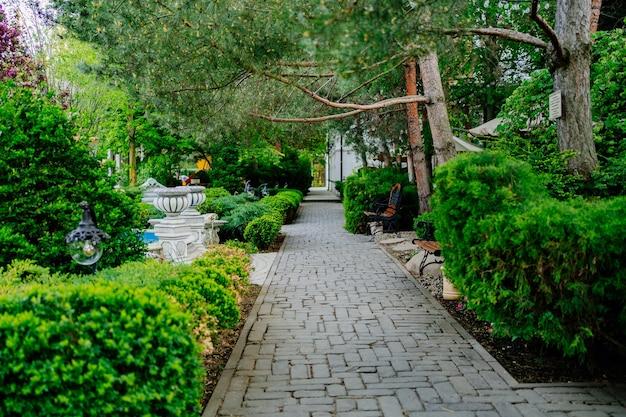Fußweg im garten oder park. landschaftsbau. spaziergänge in der natur. urlaub, meditation und ruhe.