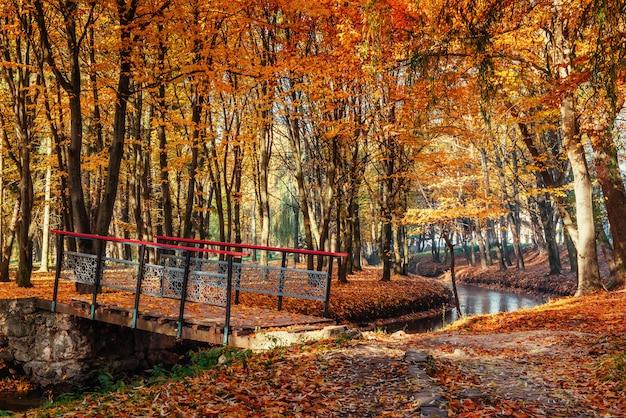 Fußwegbrücke über fluss mit bunten bäumen im herbst