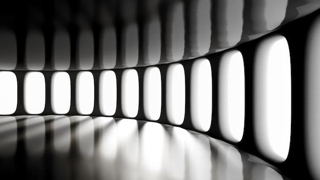 Futuristisch düster leeres interieur. 3d-rendering.