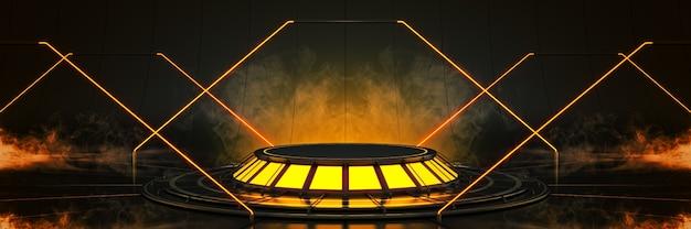 Futuristisch sci fi modern leere große halle dark alien garage sci fi 3drendering