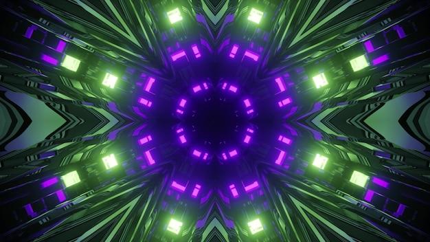 Futuristische 3d-illustration innerhalb des science-fiction-tunnels mit rundem loch und symmetrischen grünen und lila neonlichtern, die in spiegelspiegeln widergespiegelt werden
