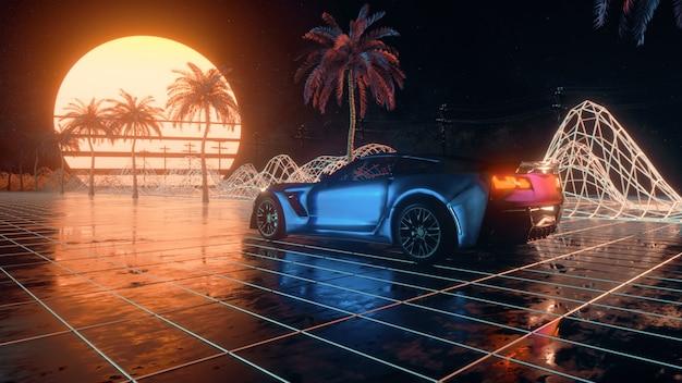 Futuristische autofahrt durch abstrakten neonraum.