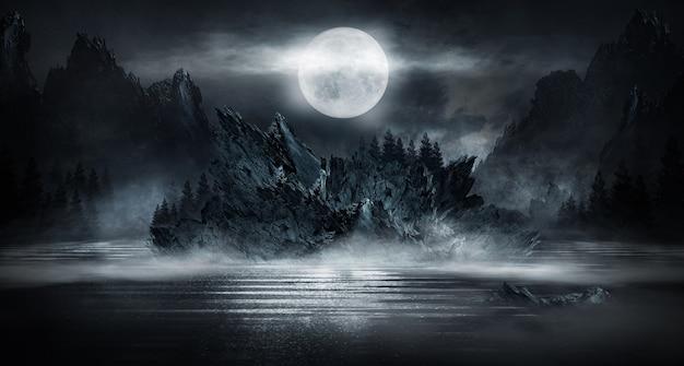 Futuristische fantasie abstrakte nachtlandschaft mit inselmondscheinglanz