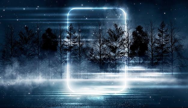 Futuristische fantasy-nachtlandschaft mit abstraktem landschaftsmondlicht, dunkler naturszene