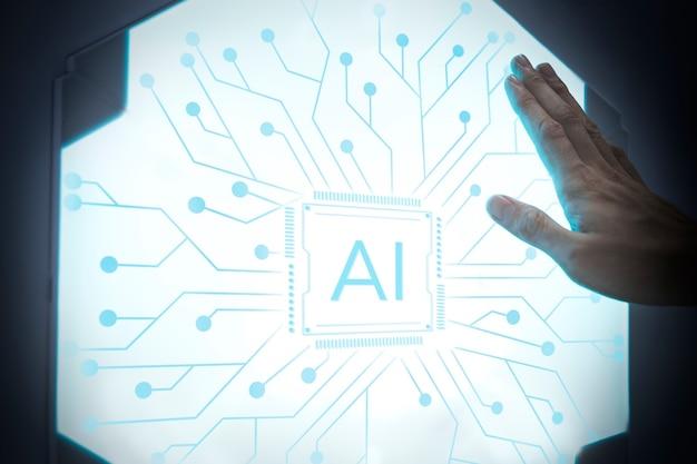 Futuristische ki-technologie mikrochip fortschrittliche innovation digitaler remix