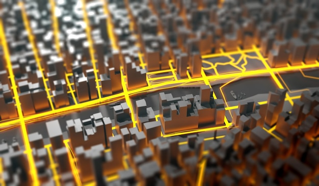 Futuristische mega-stadtbild-3d-illustration