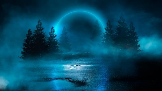 Futuristische nachtlandschaft mit abstrakter landschaft und insel, mondlicht, glanz. dunkle natürliche szene mit lichtreflexion im wasser, neonblaues licht.