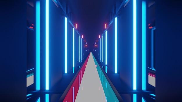 Futuristische neon-3d-darstellung des korridors mit boden der flagge luxemburgs in 4k uhd