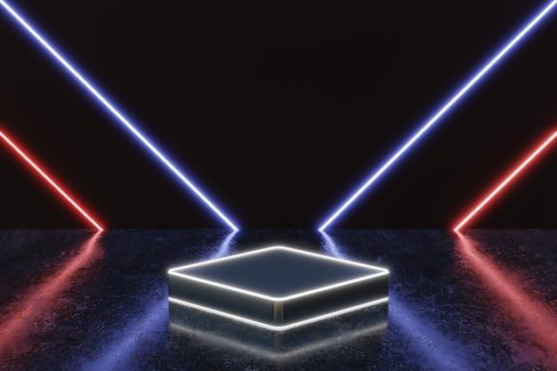 Futuristische neonlicht-produkthintergrundbühne oder podest auf grunge-straßenboden mit glühen