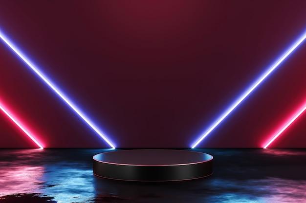 Futuristische neonlicht-produkthintergrundbühne oder podest auf grunge-straßenboden mit glühscheinwerfer und leerer anzeigeplattform. 3d-rendering.