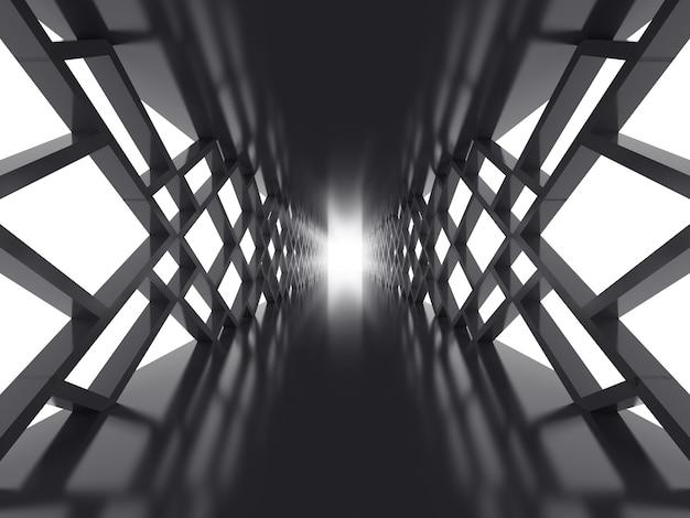 Futuristische oberfläche mit dunklem tunnel