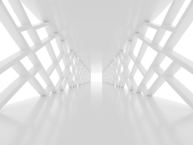 Futuristische oberfläche mit weißem tunnel