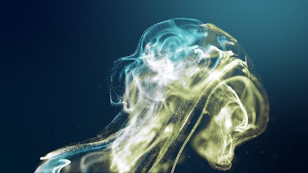 Futuristische quallen formen gelbblaue bunte fluidpartikelwelle fließend. 3d-rendering de-fokus abstrakten hintergrund