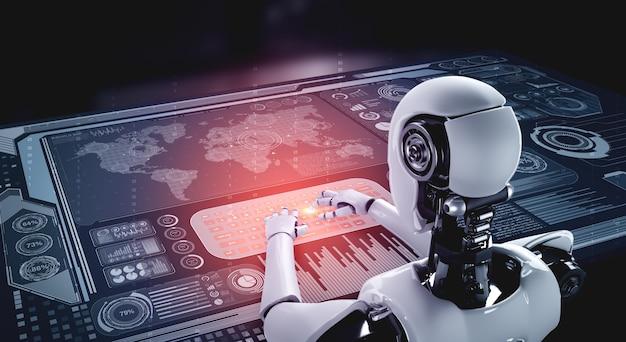 Futuristische roboter- und datenanalyse