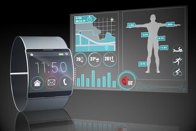 Futuristische schwarze armbanduhr mit schnittstelle auf schwarzem hintergrund