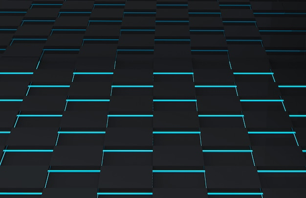 Futuristische schwarze quadratische gitterplatte mit blaulichtwand