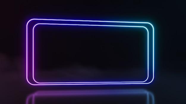 Futuristische sci fi abstrakte neonlichtformen auf schwarzem hintergrund. 3d-rendering
