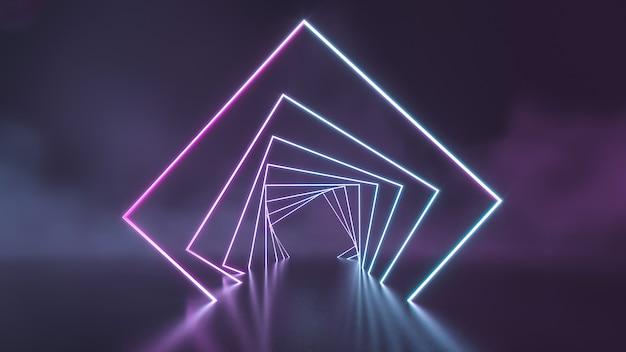 Futuristische sci fi blaue und lila neonröhrenlichter, die mit rauchwand glühen. 3d-rendering