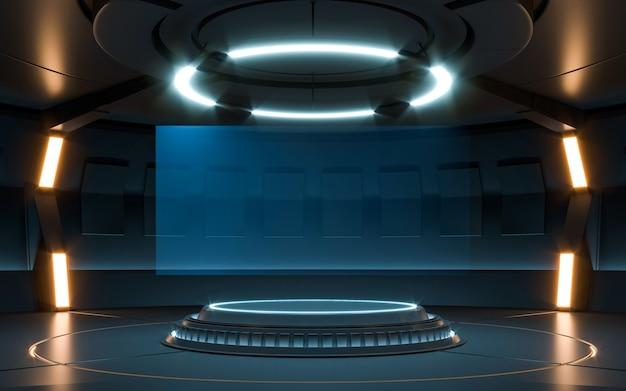 Futuristische sci fi leere bühne neon. 3d-rendering