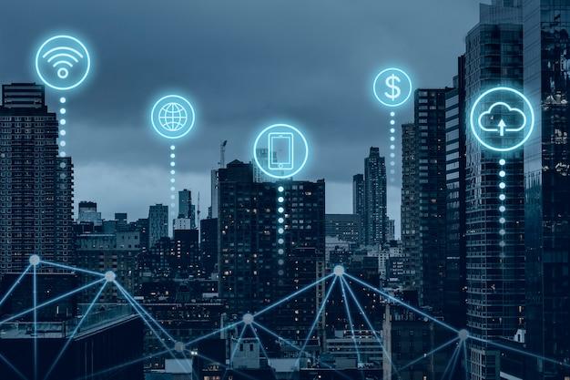 Futuristische smart city mit globaler 5g-netzwerktechnologie