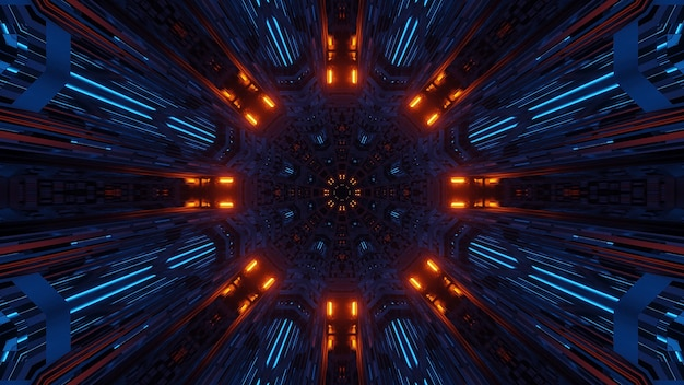 Futuristische symmetrie und reflexion abstrakten raum mit orange und blauen neonlichtern