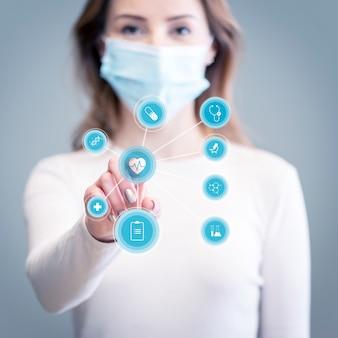 Futuristische technologie auf der suche nach coronavirus-heilung