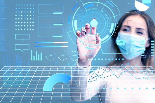 Futuristische technologie auf der suche nach einem infektionsheilmittel