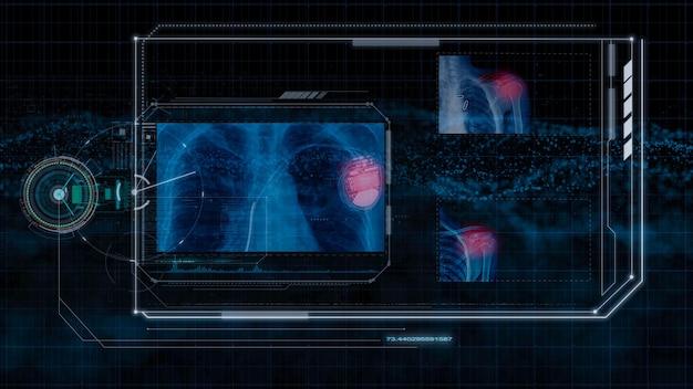 Futuristische technologie, hologramm-technologie und high-tech-monitor auf schwarzem hintergrund