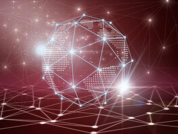 Futuristische technologie vernetzt polygonale form des globalen geschäfts des kreises mit linien und punkten