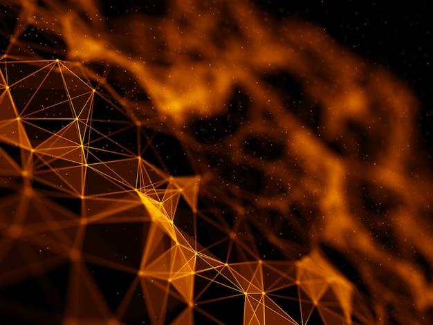 Futuristischer 3d-hintergrund mit niedrigem polyplexus-design