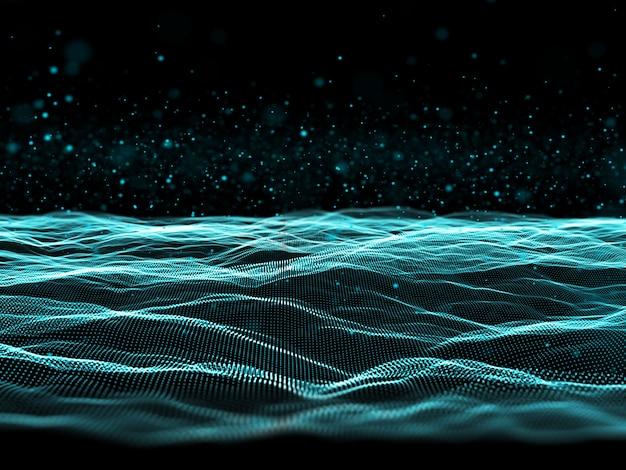 Futuristischer 3d-partikelhintergrund mit fließenden cyberpunkten