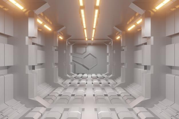 Futuristischer 3d-sci-fi-korridorhintergrund mit gelbem licht.