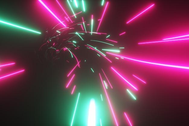 Futuristischer abstrakter flug in einem hellen tunnel mit leuchtenden linien
