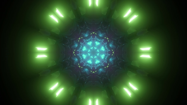 Futuristischer abstrakter hintergrund des endlosen science-fiction-tunnels mit grüner und blauer neonlicht-3d-illustration