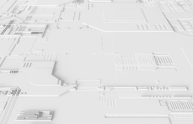 Futuristischer abstrakter hintergrund mit technologieplatinenbeschaffenheit. 3d weißer technischer hintergrund.