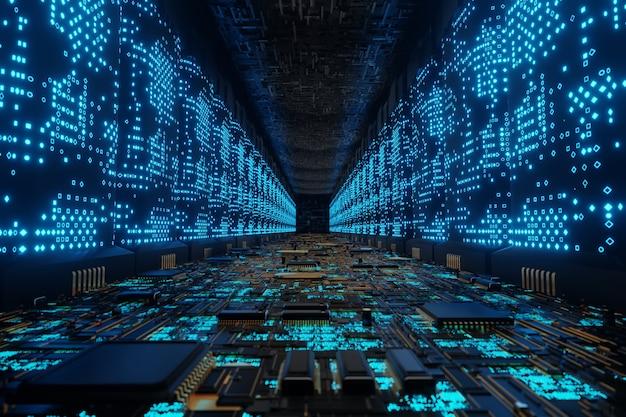 Futuristischer außerirdischer supercomputer connection network data center 3d gerendert