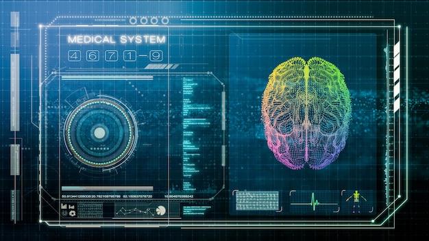 Futuristischer bildschirm des menschlichen gehirns und der medizinischen untersuchung, illustrationsbildschirm der intelligenten medizinischen diagnose, 3d-darstellung