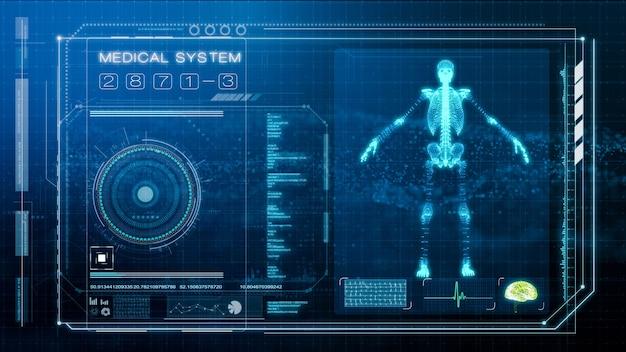 Futuristischer bildschirm des menschlichen körpers und der medizinischen untersuchung, illustrationsbildschirm der intelligenten medizinischen diagnose, 3d-darstellung