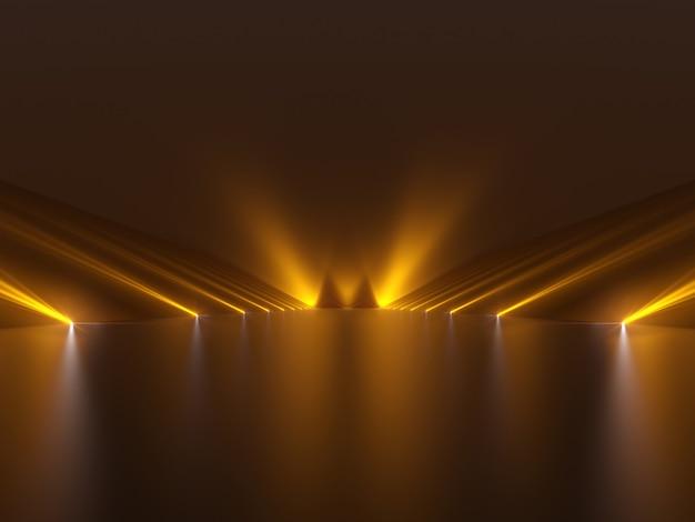 Futuristischer dunkler flur mit licht- und reflexionsfläche
