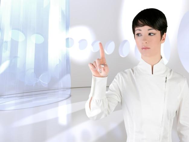 Futuristischer frauennotenfinger copyspace