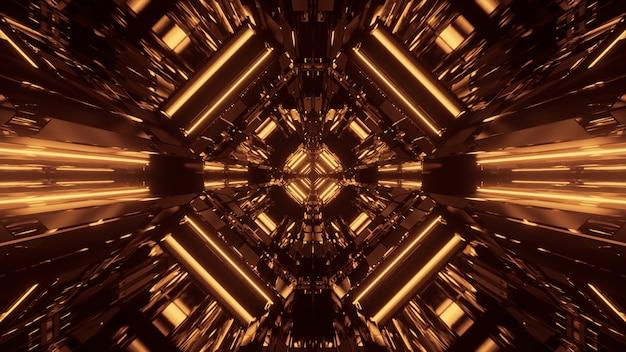 Futuristischer hintergrund der abstrakten science-fiction mit goldenen neonlichtern
