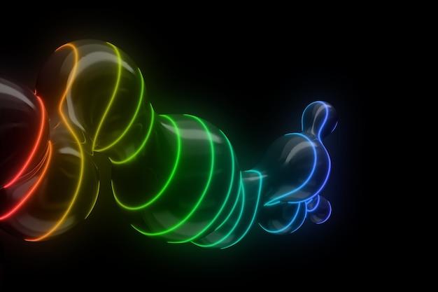 Futuristischer hintergrund der ausbreitung eines kugelförmigen flüssigkeitströpfchens sezierte neonglühende linien. 3d-darstellung.