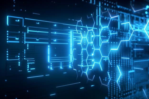 Futuristischer hintergrund, der blaues sechseckiges gitterneonhologramm glüht