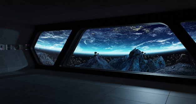 Futuristischer innenraum des raumschiffs mit ansicht über planetenerde