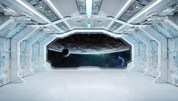 Futuristischer innenraum des weißen blauen raumschiffs mit fensteransicht über planet erde