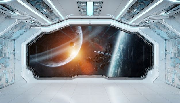 Futuristischer innenraum des weißen blauen raumschiffs mit fensteransicht über raum und planeten